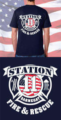 Screen Print Design Barnegat Fire Department Flag Maltese Cross Back DesignFire Department Clothing