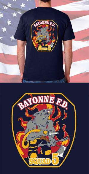 554db9698 Screen Print Design Bayonne Fire Department Patch Back DesignFire Department  Clothing