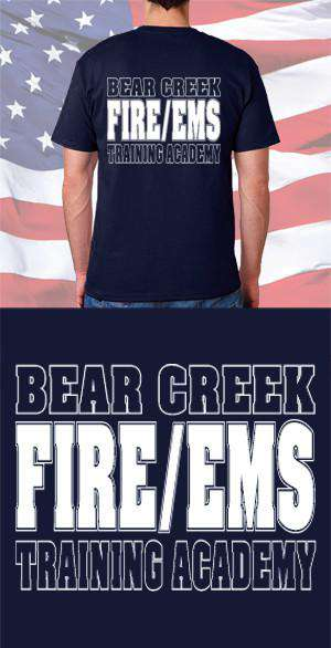 Screen Print Design Bear Creek Fire and EMS Training Academy Back DesignFire Department Clothing