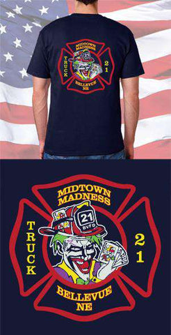 Screen Print Design Bellevue Fire Department Midtown Madness Back DesignFire Department Clothing