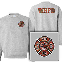 Customization Custom Printed Brick Maltese Pattern Crewneck Sweatshirt - Gildan G120 - DIGFire Department Clothing