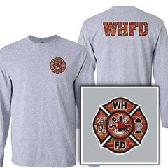 Customization Custom Printed Brick Maltese Pattern Long Sleeve Shirt - Gildan G240 - DIGFire Department Clothing