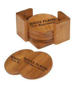 Custom Engraved Round Wooden Coaster Set