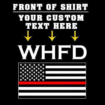 Customization Printed Red Stripe Flag Long Sleeve Shirt - Gildan G240 - DTGFire Department Clothing