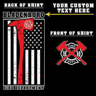 Customization Printed Red Striped Axe Flag Long Sleeve Shirt - Gildan G240 - DTGFire Department Clothing