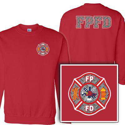 Customization Custom Printed Diamond Plate Maltese Pattern Crewneck Sweatshirt - Gildan G120 - DIGFire Department Clothing