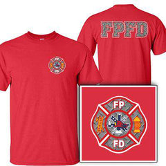 Customization Custom Printed Diamond Plate Maltese Pattern T-Shirt - Gildan G200 - DIGFire Department Clothing