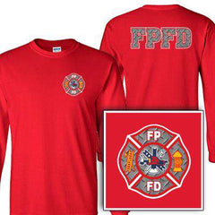 Customization Custom Printed Diamond Plate Maltese Pattern Long Sleeve Shirt - Gildan G240 - DIGFire Department Clothing