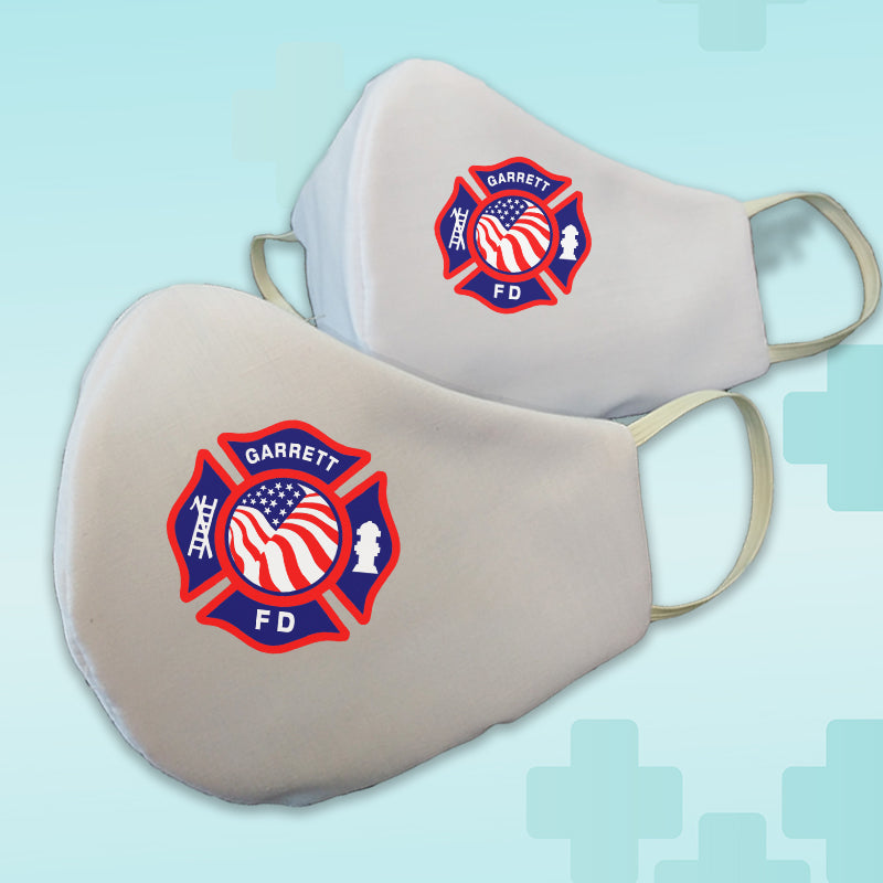 Fire Department Maltese Cross Washable Face Mask 2 Pack - Poppi 2.0 - Made in USA - 100% Cotton - DIGFire Department Clothing