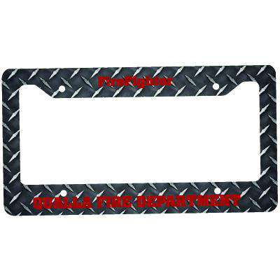 Sublimation Accessory Fire Department Diamond Plate License PlateFire Department Clothing