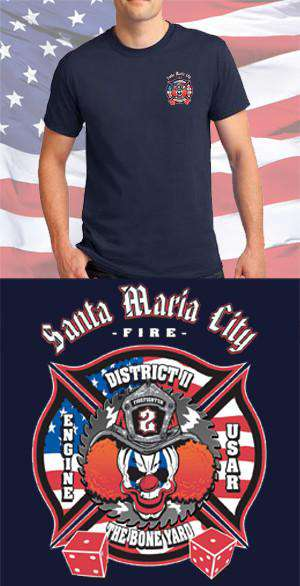 Screen Print Design Santa Maria City Fire Department Maltese CrossFire Department Clothing