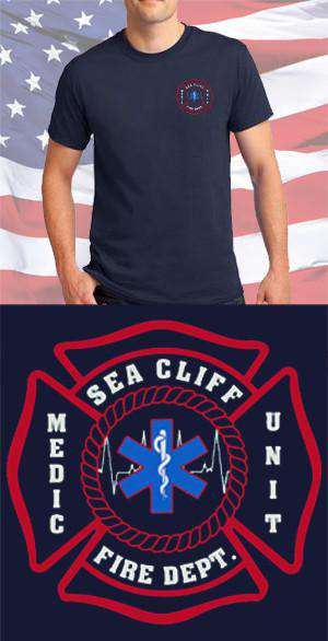 Screen Print Design Sea Cliff Fire Department Medic Maltese CrossFire Department Clothing