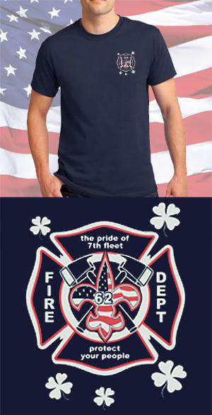 Screen Print Design USS New Orleans Fire Department Maltese CrossFire Department Clothing