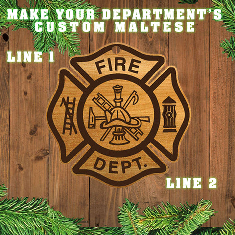 Firefighter Christmas Ornament - Maltese Cross - LZR