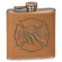 Flag Maltese Leather Laserable Stainless Steel Flask - LZRFire Department Clothing
