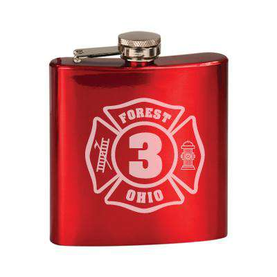 Laser Engraved Accesory Custom Number Maltese Stainless Steel Flask-LZRFire Department Clothing