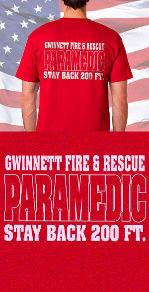Screen Print Design Gwinnett Fire Rescue Paramedic Back DesignFire Department Clothing