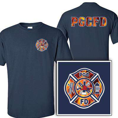 Custom Printed Fire Maltese Pattern T-Shirt - Gildan G200 - DIG