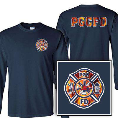 Custom Printed Fire Maltese Pattern Long Sleeve Shirt - Gildan G240 - DIG