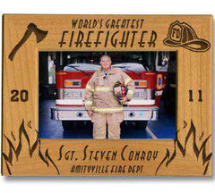 Laser Engraved Accesory Worlds Greatest Firefighter Engraved FrameFire Department Clothing