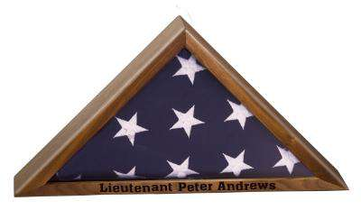 Laser Engraved Accesory Genuine Walnut Flag Display Case-AGW14-LZRFire Department Clothing