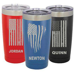 Custom 20oz Polar Camel Vacuum Tumbler with Flag - LTM924 - LZRFire Department Clothing