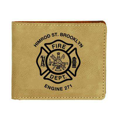 Custom Fire Department Leatherette BiFold Wallet - LZR