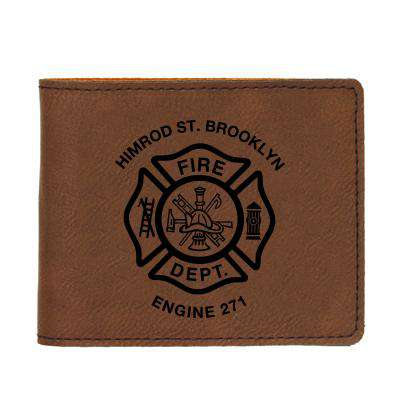 Laser Engraved Accesory Custom Fire Department Leatherette BiFold Wallet - LZRFire Department Clothing