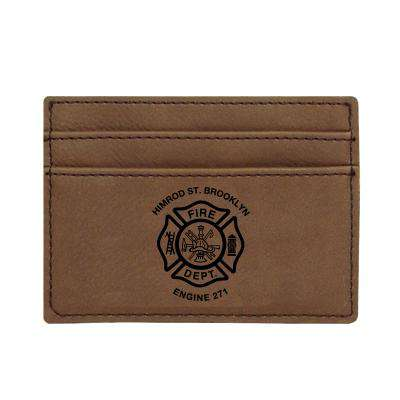 Custom Fire Department Leatherette Wallet Clip - LZR