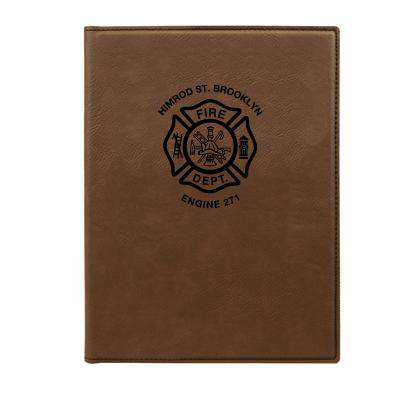 Custom Fire Department Leatherette Notepad - LZR