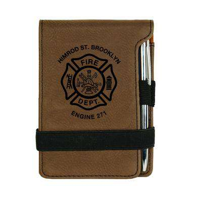 Custom Fire Department Leatherette Mini Notepad - LZR