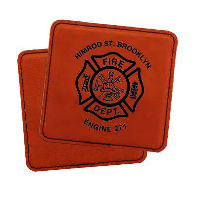 Laser Engraved Accesory Custom Fire Department Leatherette Square Coaster Set - LZRFire Department Clothing