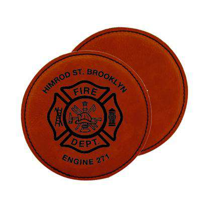 Laser Engraved Accesory Custom Fire Department Leatherette Round Coaster Set - LZRFire Department Clothing