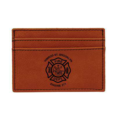 Laser Engraved Accesory Custom Fire Department Leatherette Wallet Clip - LZRFire Department Clothing