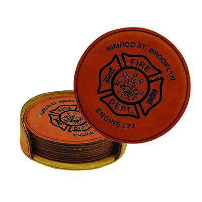 Custom Fire Department Leatherette Round Coaster Set - LZR