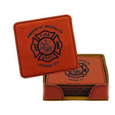Custom Fire Department Leatherette Square Coaster Set - LZR