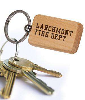 Laser Engraved Accesory Laser-Engraved Square Wooden KeychainFire Department Clothing