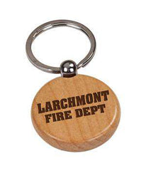Laser Engraved Accesory Laser-Engraved Round Wooden KeychainFire Department Clothing