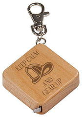 Laser Engraved Accesory Maple Finish Square 3-Foot Tape Measure with Keychain-GFT511M-LSRFire Department Clothing