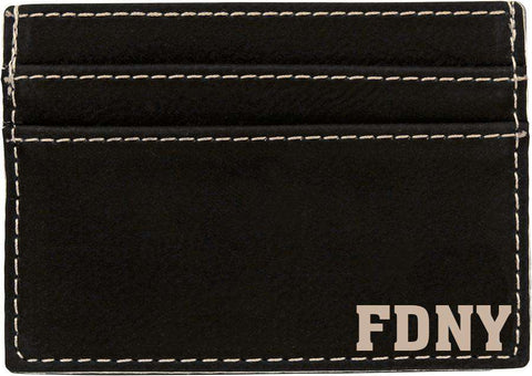Black/Silver Laserable Leatherette Wallet Clip - LZRFire Department Clothing