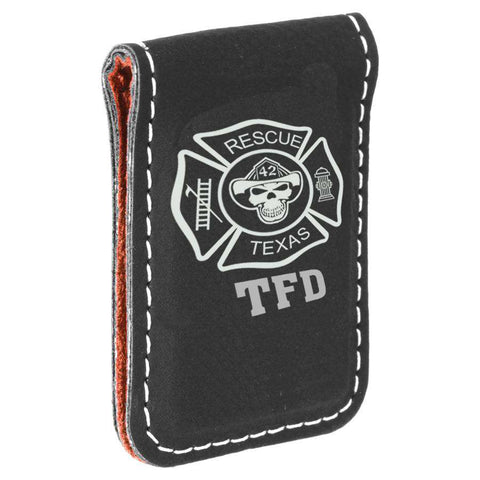 Laser Engraved Accesory Black/Silver Laserable Leatherette Money Clip-GFT669-LZRFire Department Clothing