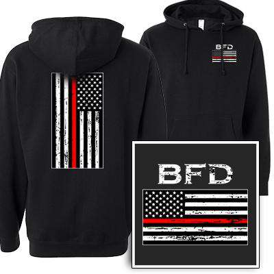 Printed Distressed Red Stripe Flag Sweatshirt - SS4500 - DTG
