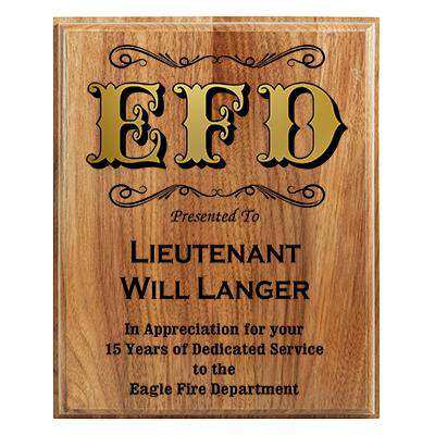 Firefighter Award Plaque - Walnut Step-Edge Plaque with inlay - LZR - AMGW1810Fire Department Clothing
