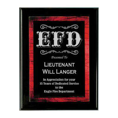 Firefighter Award Plaque - Red Galaxy Plate - PPX811BRD - LZR