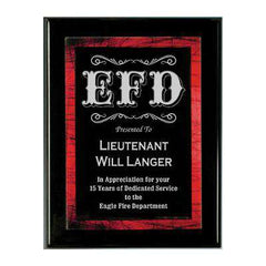 Firefighter Award Plaque - Red Galaxy Plate - PPX811BRD - LZRFire Department Clothing