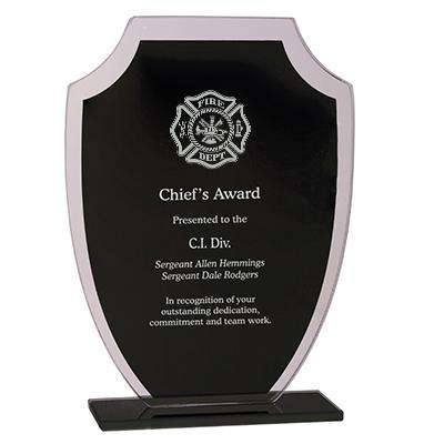 Firefighter Award Plaque - Laser Engraved Black Shield - RFG21 - LZR