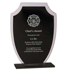 Firefighter Award Plaque - Laser Engraved Black Shield - RFG21 - LZRFire Department Clothing