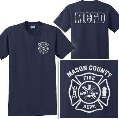 Cad-Cut Garment Firefighter T-Shirt with Maltese Cross - Gildan G200 - CADFire Department Clothing