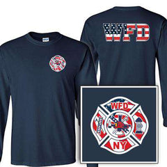 Customization Custom Printed Flag Maltese Pattern Long Sleeve Shirt - Gildan G240 - DIGFire Department Clothing