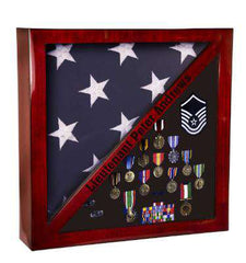 Rosewood Piano Finish Flag & Memorabilia Display Case-PFC18-LZR